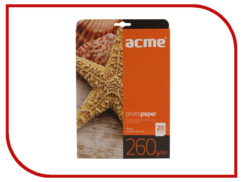 Фотобумага Acme Premium глянцевая A4 260g/m2 20 листов acme power nb 5l