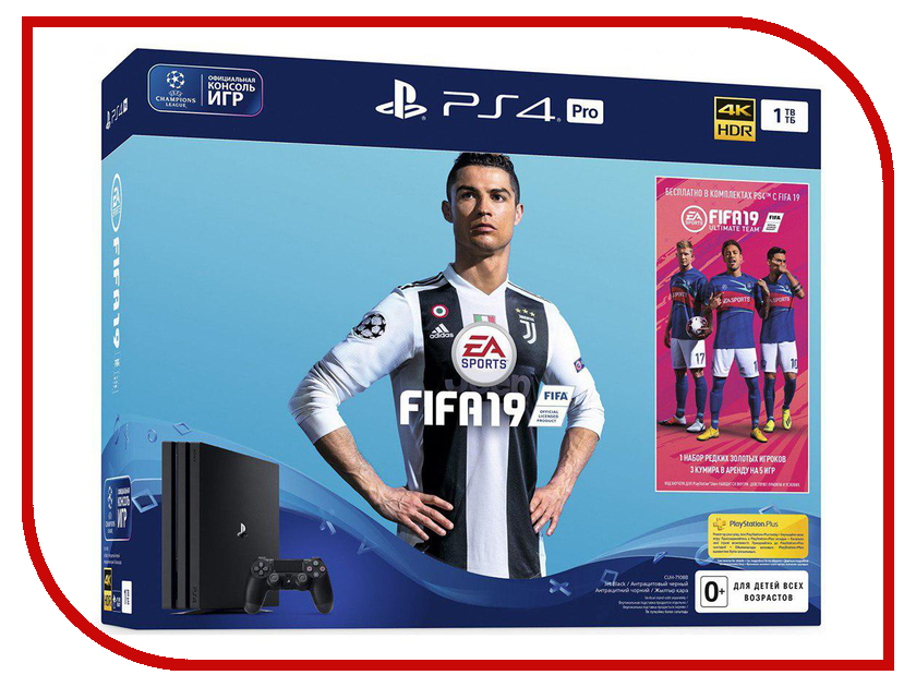 Игровая приставка Sony PlayStation 4 Pro 1Tb Black CUH-7108 + игра FIFA 19 цена