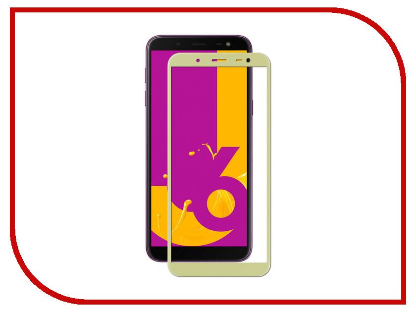 Аксессуар Защитное стекло для Samsung Galaxy J6 2018 Onext Full Glue Gold 41695 аксессуар противоударное стекло для samsung galaxy j8 2018 innovation 2d full glue cover gold 12814