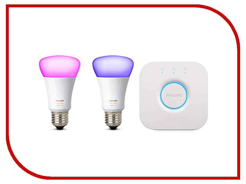 Лампочка Philips Hue White and Color Ambiance Starter E27 (2 шт) + блок управления