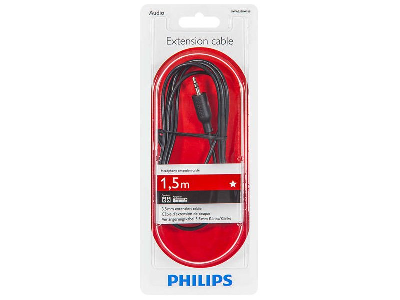 Аксессуар Philips 3.5mm M - 3.5mm F 1.5m Black SWA2528W/10 аксессуар чехол philips s307 armor black