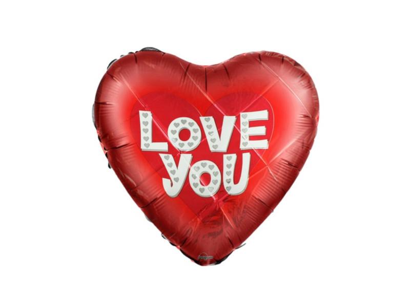 Шар фольгированный Anagram I Love You Сердце 18-inch Red 1352421