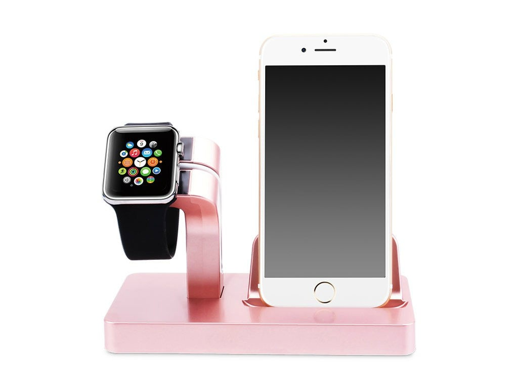 Аксессуар Док-станция Gurdini Smart Apple Watch + Lightning Connector Pink 903287