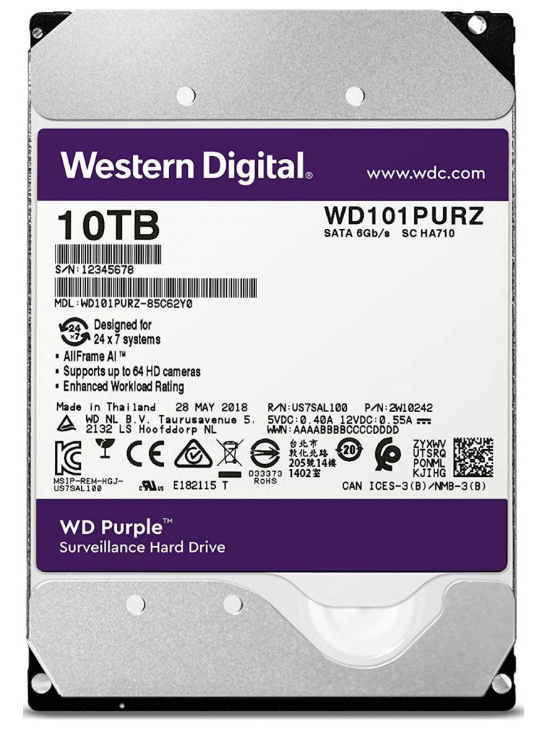 Жесткий диск 10Tb - Western Digital WD Purple WD101PURZ жесткий диск 8tb western digital purple wd80puzx