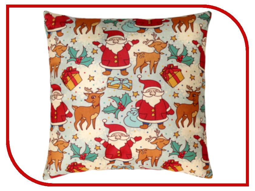 Подушка Matex Дед Мороз, олень и подарки 35x35cm 3639279 домас оливье лямур кроше селин чем занимается дед мороз когда не раздает подарки детям