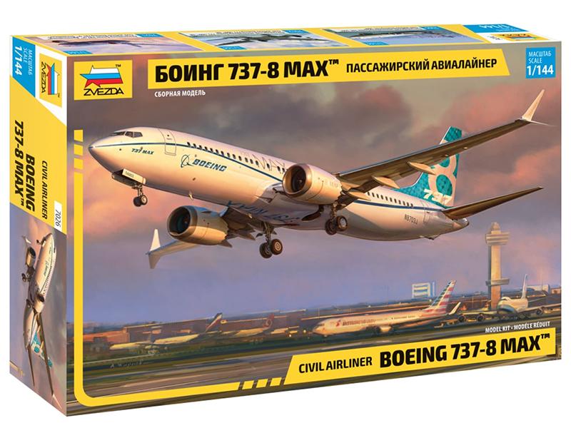 Сборная модель Zvezda Пассажирский авиалайнер Боинг 737-8 Max 7026