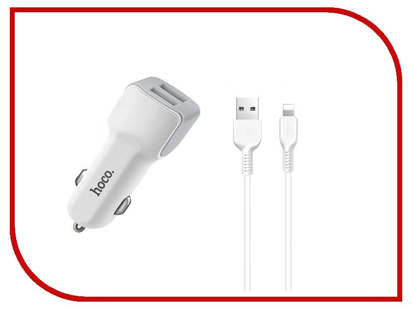 Зарядное устройство HOCO Z23 2xUSB 2.4A+Lightning White зарядное устройство budi m8j056e 2xusb 2 4a lightning