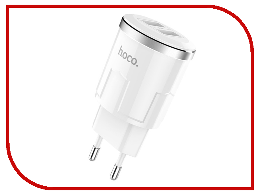 Зарядное устройство HOCO C38A Thunder 2xUSB 2.4A White зарядное устройство hoco c38a thunder 2xusb 2 4a microusb lightning type c white