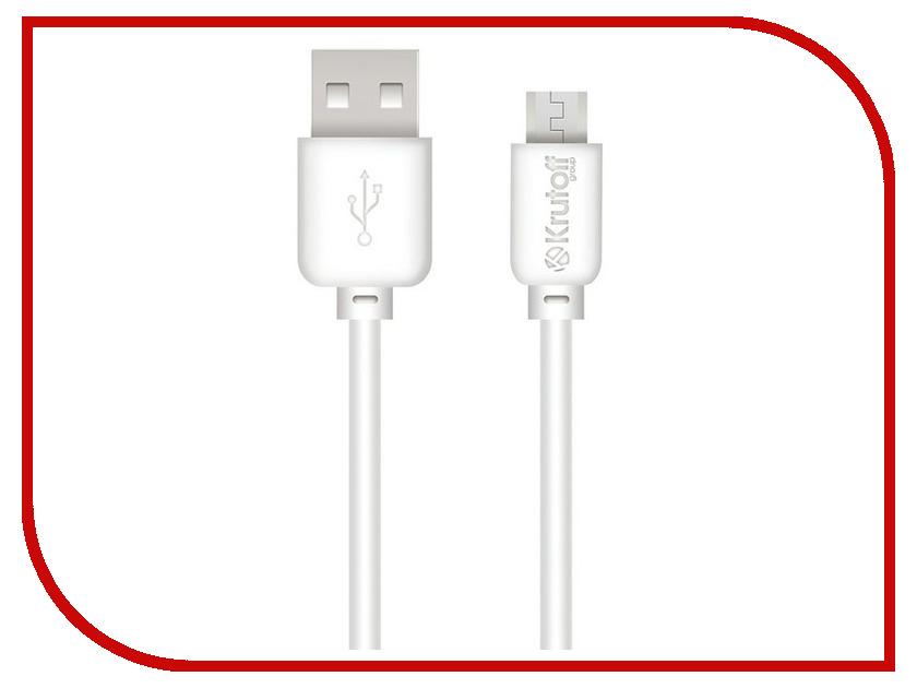 Аксессуар Krutoff Classic USB - microUSB 1m White 14853 аксессуар krutoff aux jack 3 5mm 1m silver 14432