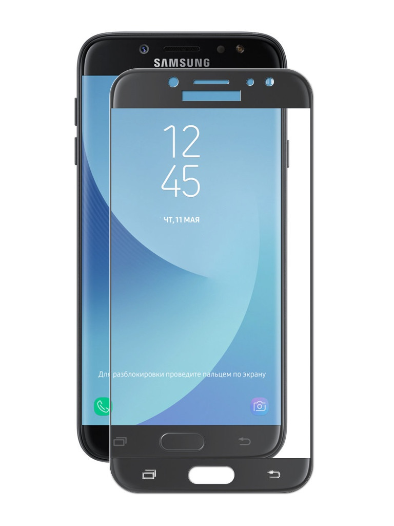 Аксессуар Противоударное стекло для Samsung Galaxy J7 2018 J730 Innovation 2D Full Glue Cover Black 12807 printio роспись