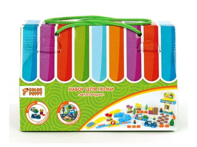Набор для лепки Color Puppy Автогородок - тесто 240g + аксессуары 631729 цена