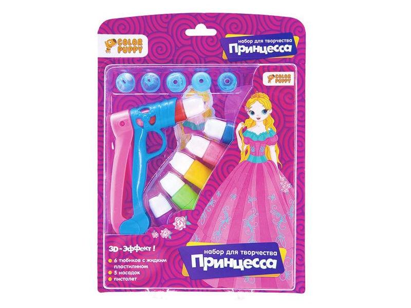 Набор для лепки Color Puppy Принцесса - жидким пластилином 6 цветов + пистолет 95334 цена и фото