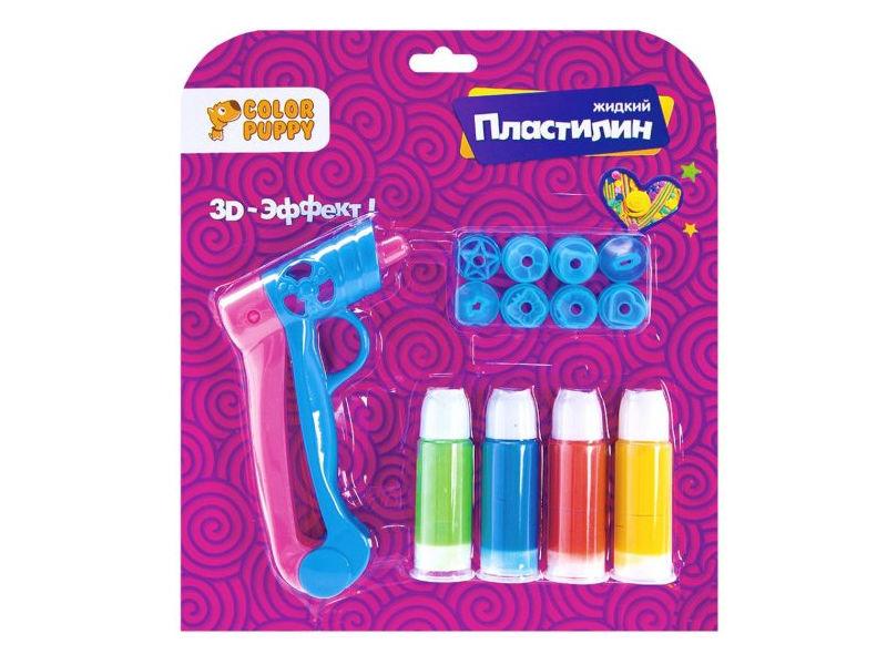 Набор для лепки Color Puppy Жидкий пластилин 4 цвета + пистолет и насадки 95331 цена и фото
