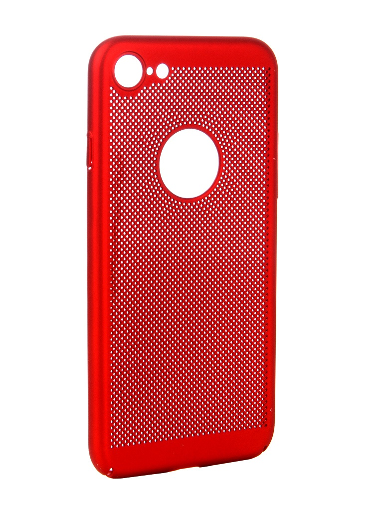 Аксессуар Чехол Brosco для APPLE iPhone 8 Perforated Red IP8-HOLE-RED red