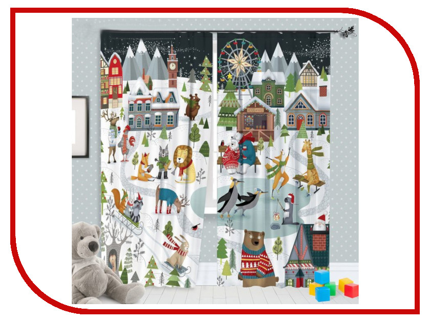 Комплект штор Этель Зимние забавы 145x260 2шт 2587010 зимние забавы раскраска
