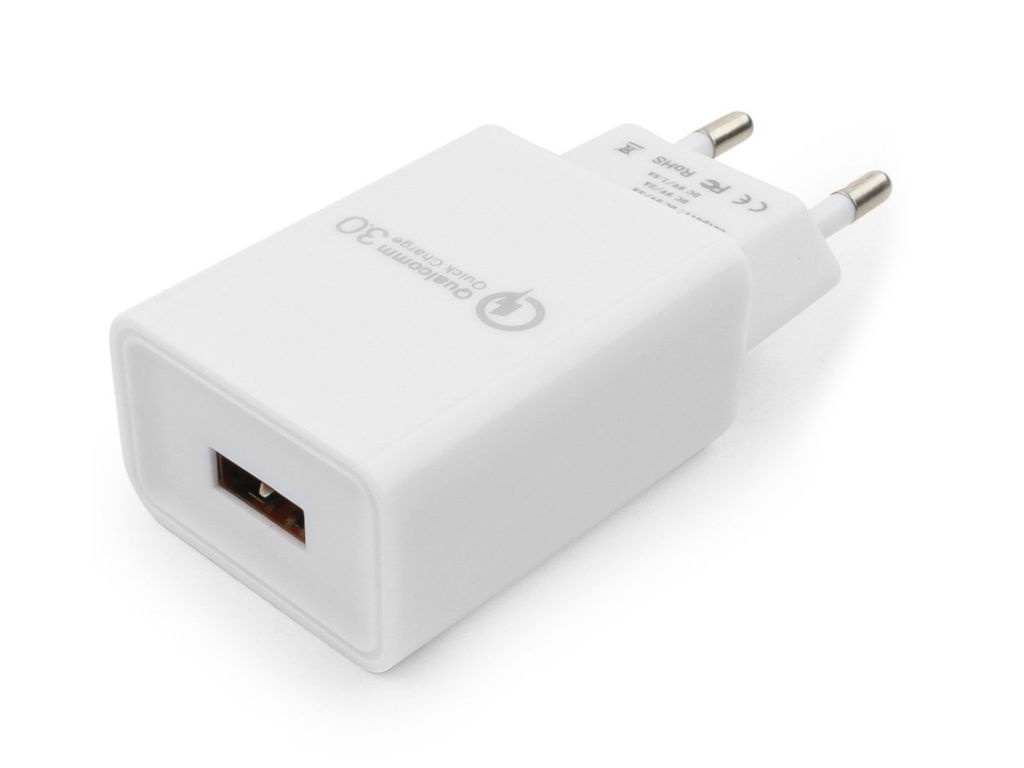 Зарядное устройство Gembird Cablexpert QC 3.0 100/220V 1xUSB (5/9/12V) White MP3A-PC-16