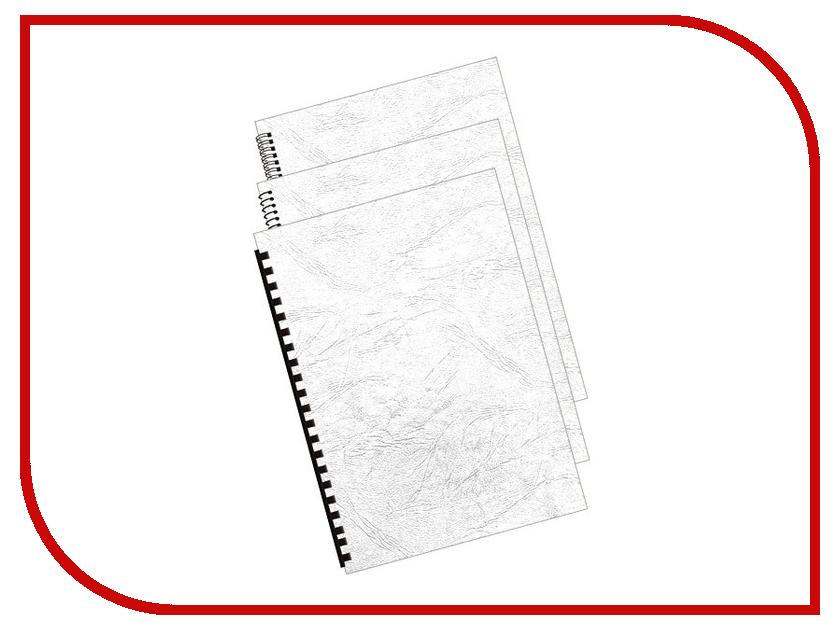 Обложки для переплета Bulros A4 230g 100шт тиснение под кожу White