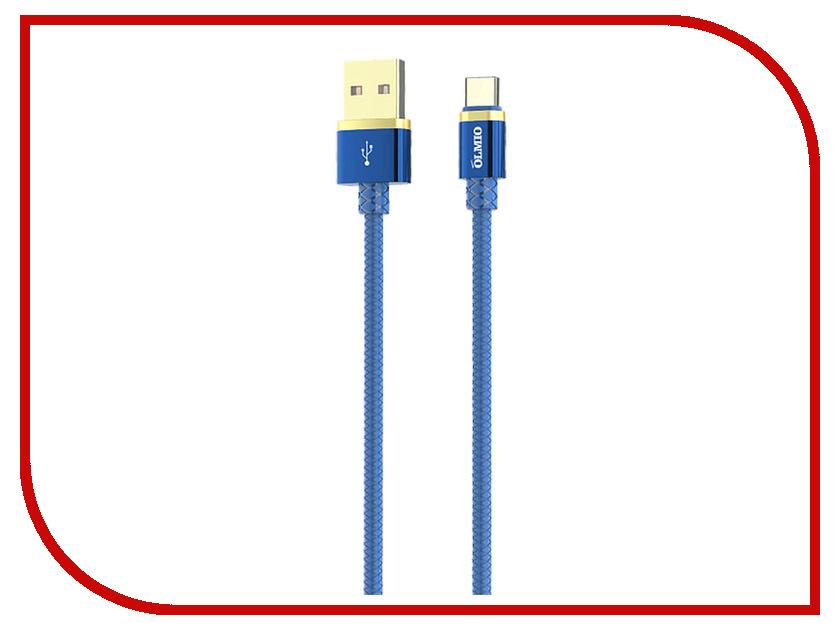 Аксессуар Olmio Deluxe USB 2.0 - USB Type-C 1m 2.1A Blue ПР038857 аксессуар df usb type c 1m czebra 02 blue black page 6