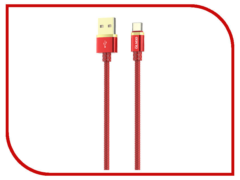 Аксессуар Olmio Deluxe USB 2.0 - USB Type-C 1m 2.1A Red ПР038856 50pcs micro usb 3 0 male to usb c usb 3 1 type c female extension data cable for macbook tablet 10cm by fedex