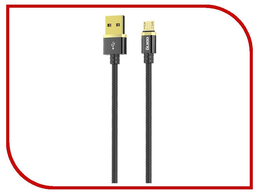 Аксессуар Olmio Deluxe USB 2.0 - microUSB 1m 2.1A Black ПР038853 аксессуар olmio deluxe usb 2 0 usb type c 1m 2 1a blue пр038857