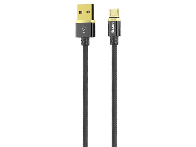 Аксессуар Olmio Deluxe USB 2.0 - microUSB 1m 2.1A Black ПР038853