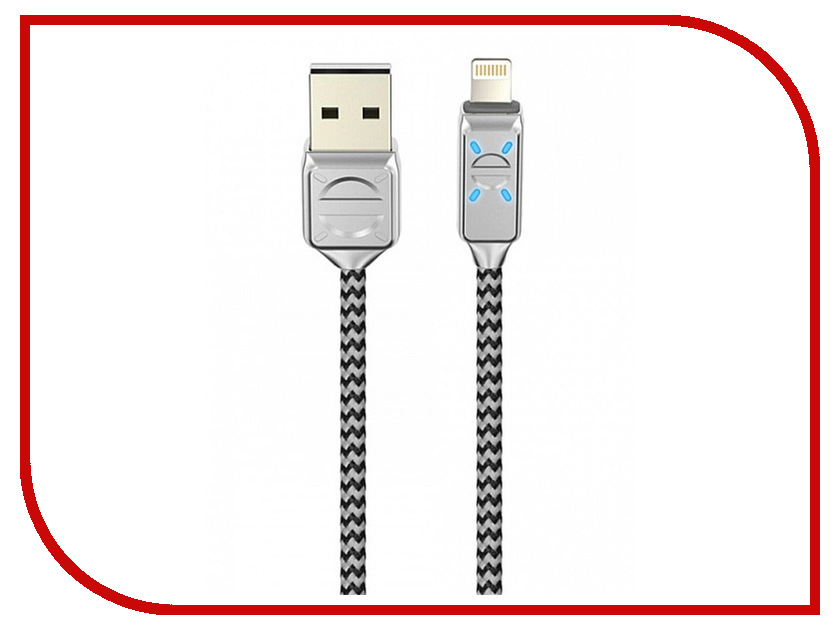 Аксессуар Olmio LED USB 2.0 - Lightning 1.2m 2.1A Grey ПР038659 аксессуар byz bc 001 usb lightning grey