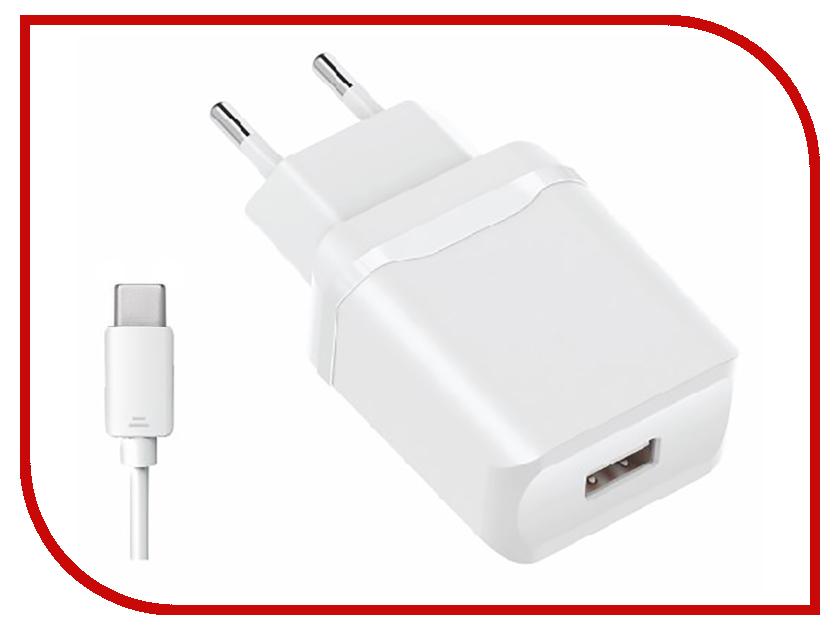 Зарядное устройство Olmio USB 2.4A Smart IC + кабель Type-C White ПР038738 сетевое зарядное устройство moshi progeo usb type c