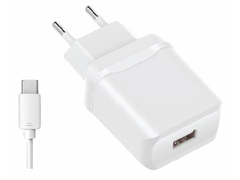 Зарядное устройство Olmio USB 2.4A Smart IC + кабель Type-C White ПР038738