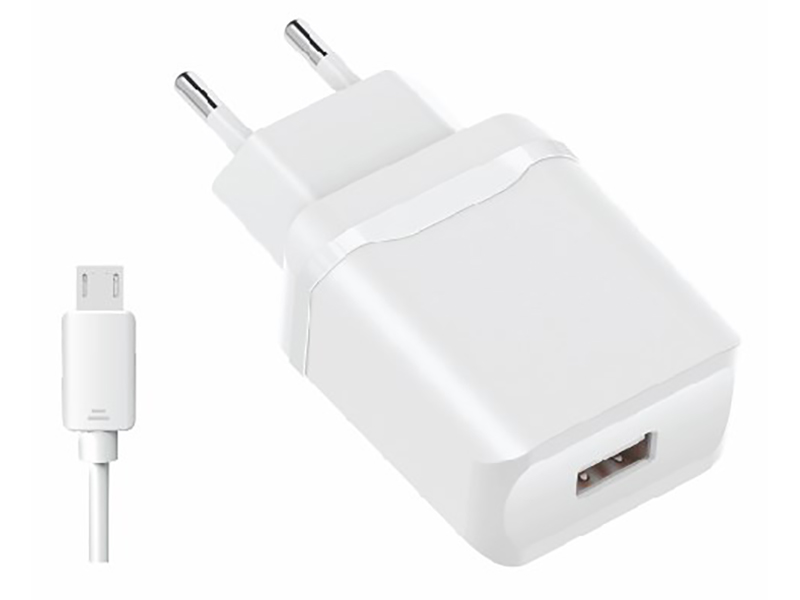 Зарядное устройство Olmio USB 2.4A Smart IC + кабель microUSB White ПР038736