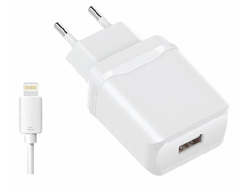Зарядное устройство Olmio USB 2.4A Smart IC + кабель Lightning White ПР038737