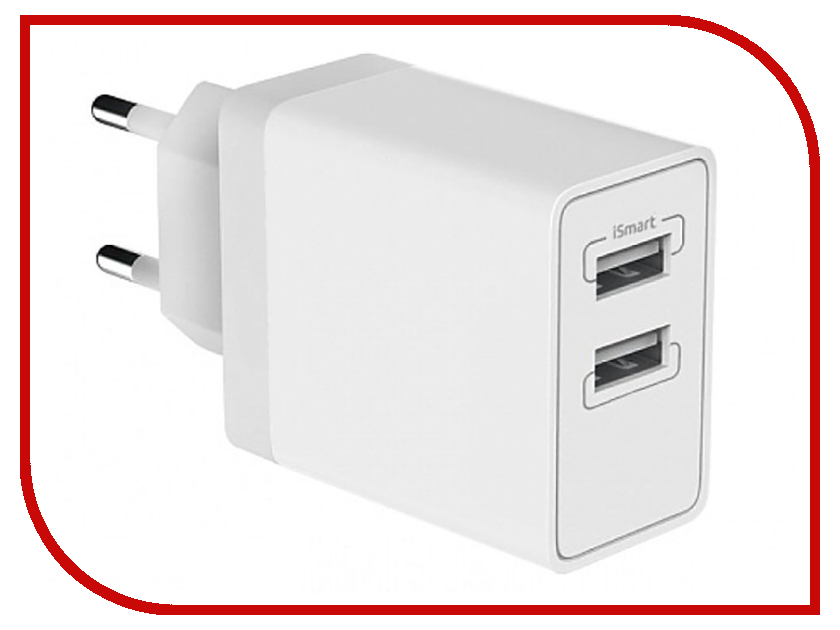 Зарядное устройство Olmio 2xUSB 3.4A Smart IC White ПР038739 зарядное устройство op smart white black 001 0002 00074