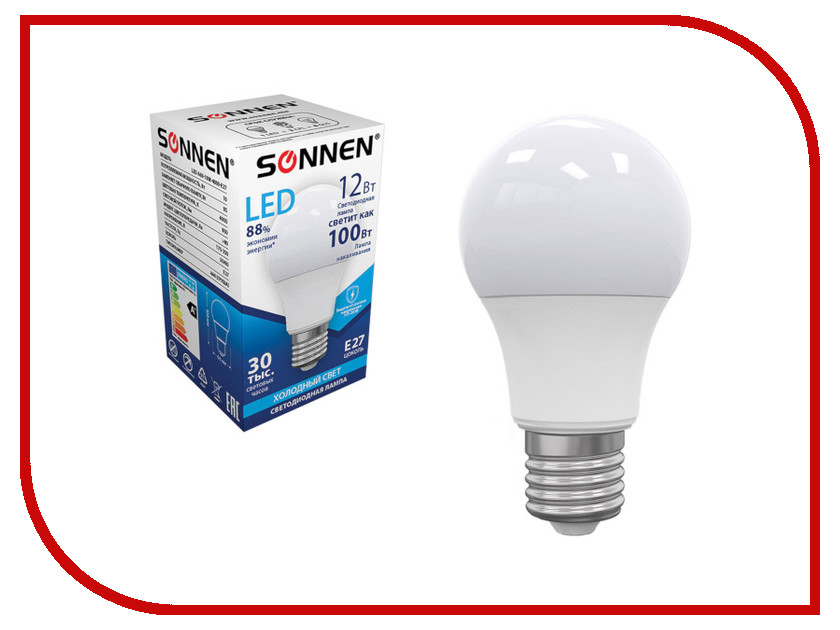Лампочка Sonnen LED A60 12W 4000K E27 453698 kd mbd fx 12w nbg 12w 340lm 3500k led ceiling panel light white 86 265v