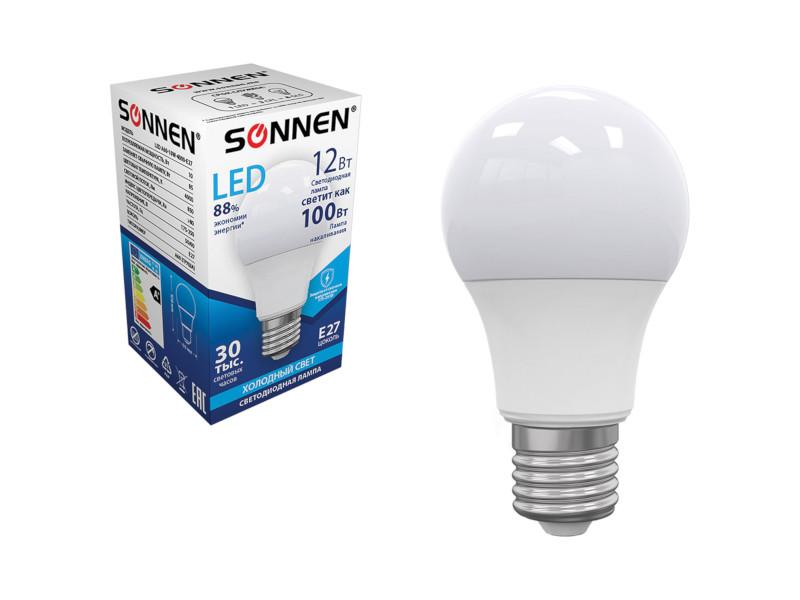 Лампочка Sonnen LED A60 12W 4000K E27 453698 лампочка ecola classic led premium 12w a60 220 240v e27 4000k d7kv12elc