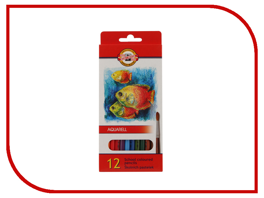 Карандаши цветные Koh-i-Noor Fish 12 цветов Акварельные 3716012004KS карандаши восковые мелки пастель koh i noor мелки масляные 6 цветов
