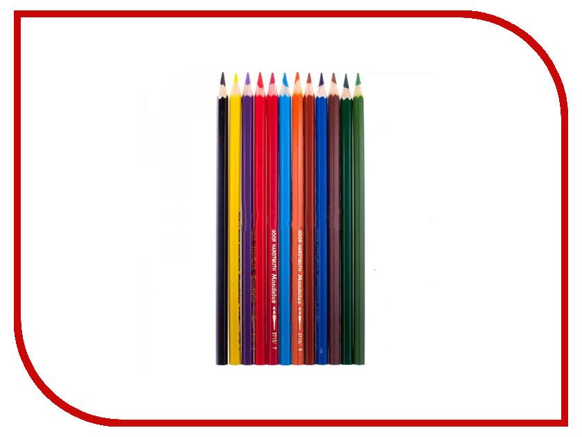 Карандаши цветные Koh-i-Noor Mondeluz 12 цветов Акварельные 3716012001KSRU карандаши восковые мелки пастель koh i noor мелки масляные 6 цветов