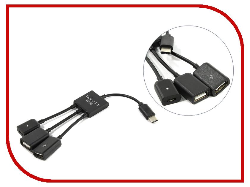 Хаб USB KS-is OTG 2xUSB 2.0 MicroUSB F - USB Type C M KS-319 аксессуар ks is 2в1 usb microusb type c 1 0m black ks 349b
