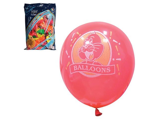 Набор воздушных шаров Веселая затея 10-inch 100шт Неон с рисунком Ассорти 1103-0006