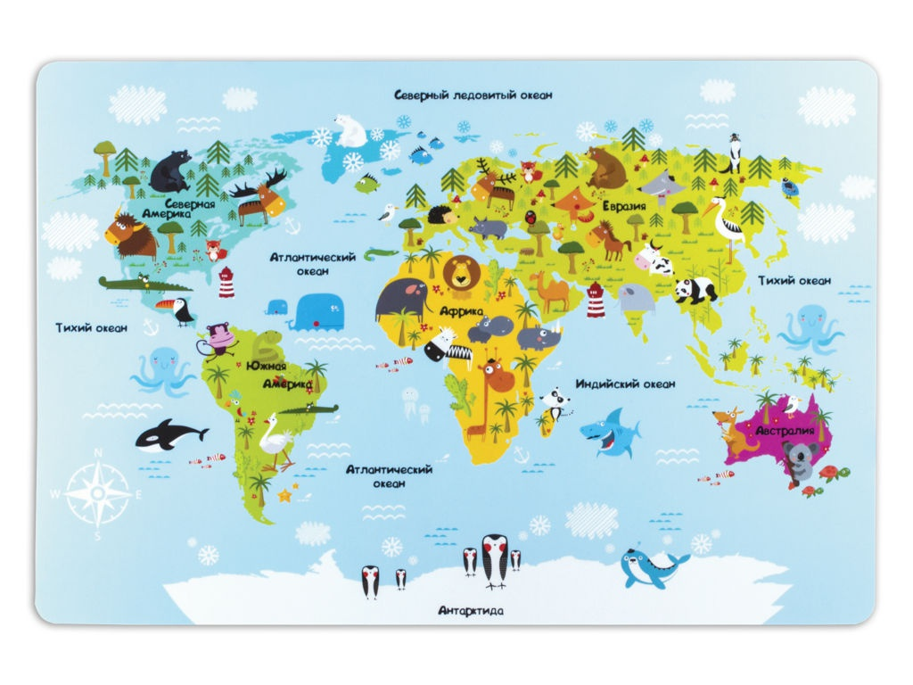 Настольное покрытие Пифагор A3 Карта мира 227248