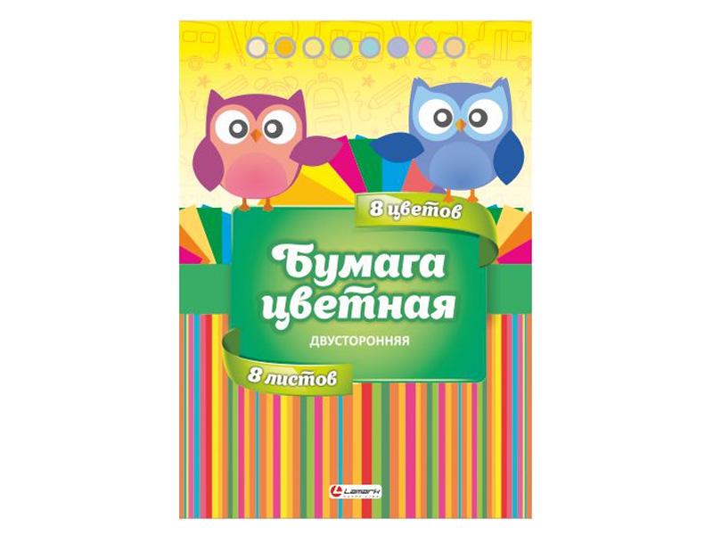 Цветная бумага Lamark A4 8 листов 8 цветов MIX-1 35126 цветная бумага artspace a4 16 листов 8 цветов нб16 8дв 043