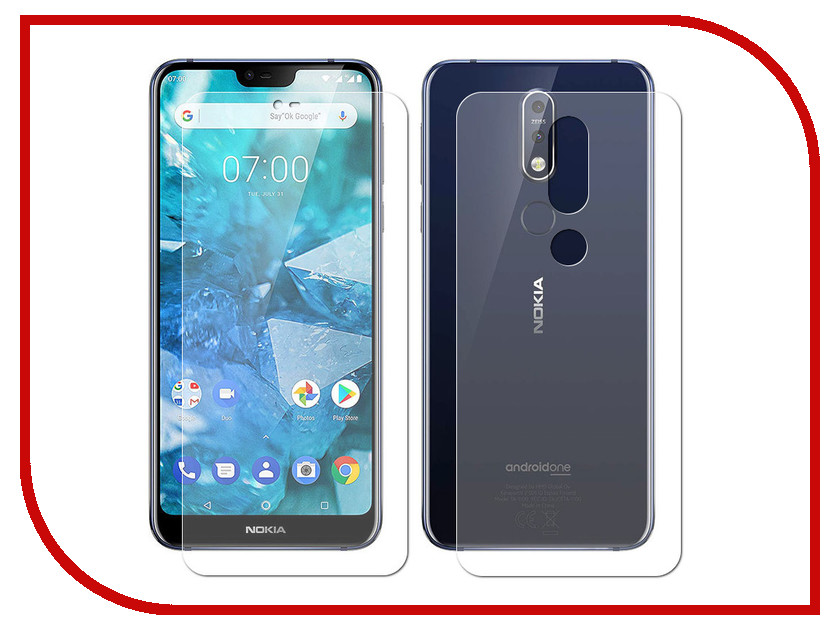 Аксессуар Защитная пленка для Nokia 7.1 LuxCase Front&Back на весь экран Transparent 88665 аксессуар защитная пленка luxcase для alcatel 3l 5034d luxcase full screen transparent 88578