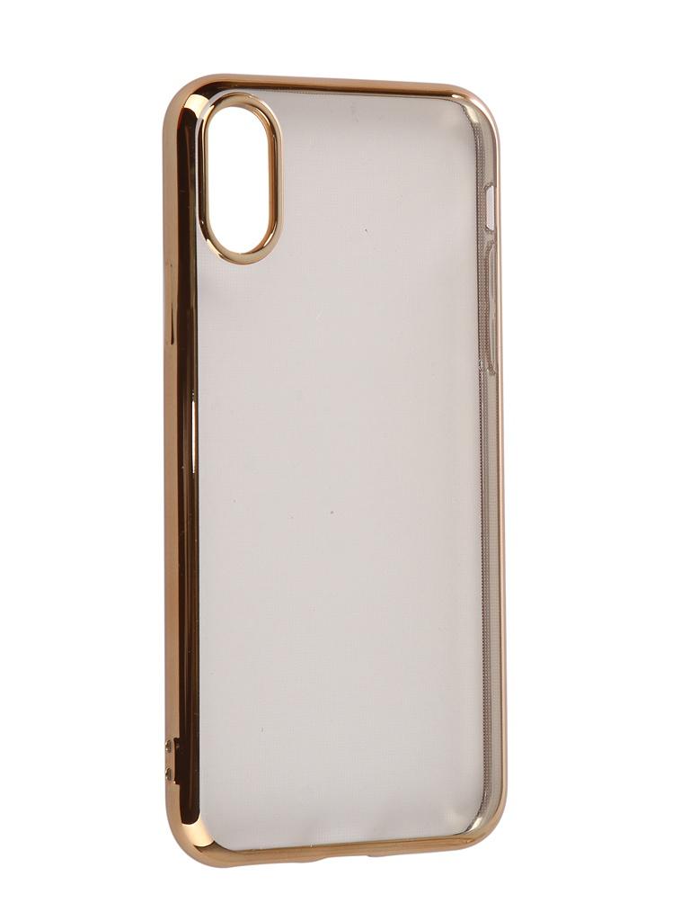 Аксессуар Чехол iBox для APPLE iPhone XS Blaze Silicone Gold Frame УТ000016105 аксессуар чехол для apple iphone 5 5s se ibox blaze pink