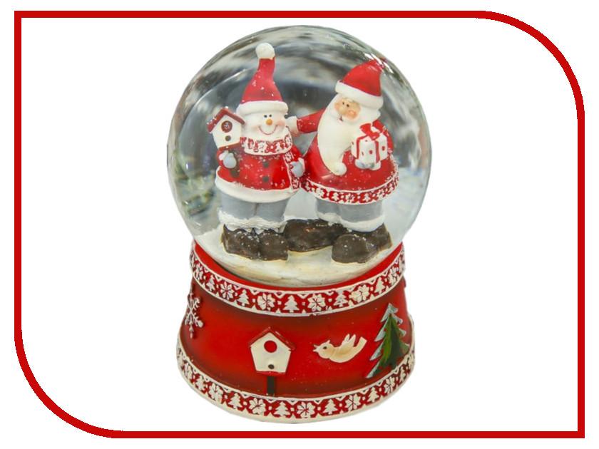 Снежный шар СИМА-ЛЕНД Дед Мороз и снеговик дарят подарки 14.5x10x10cm Музыкальный 3244440 салфетница сима ленд хрюша и дед мороз 3789374