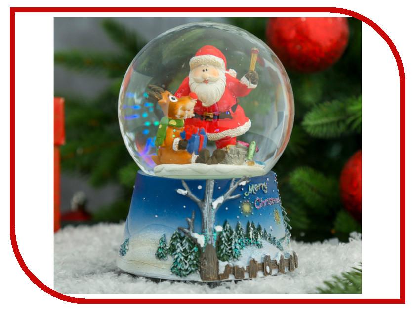 Снежный шар СИМА-ЛЕНД Дед Мороз с оленёнком Музыкальный 186962 салфетница сима ленд хрюша и дед мороз 3789374