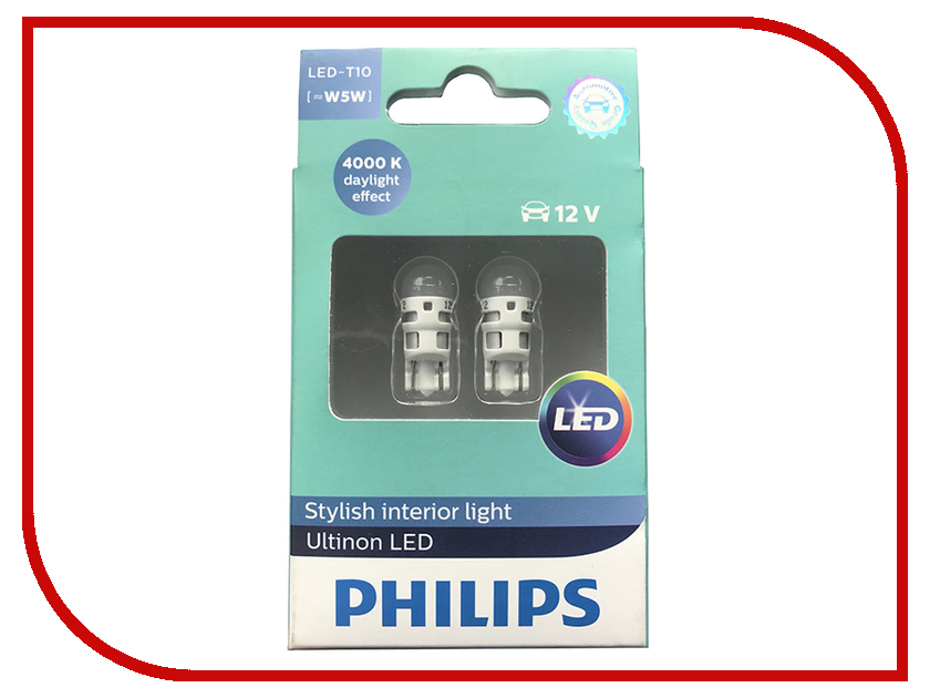 Лампа Philips Ultinon LED W5W 12V-1W 4000K 11961ULW4X2 (2 штуки) 1156 1w 6500k 85 lumen 19 led car white light bulbs pair dc 12v