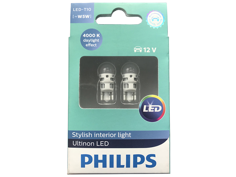 Лампа Philips Ultinon LED W5W 12V-1W 4000K 11961ULW4X2 (2 штуки) лампа philips t10 w5w 12v 12961b2 2 штуки