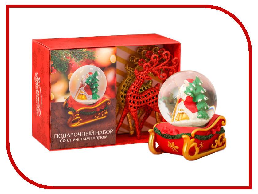 Снежный шар СИМА-ЛЕНД Дед Мороз везёт подарки + Ёлочные украшения 3669455 салфетница сима ленд хрюша и дед мороз 3789374