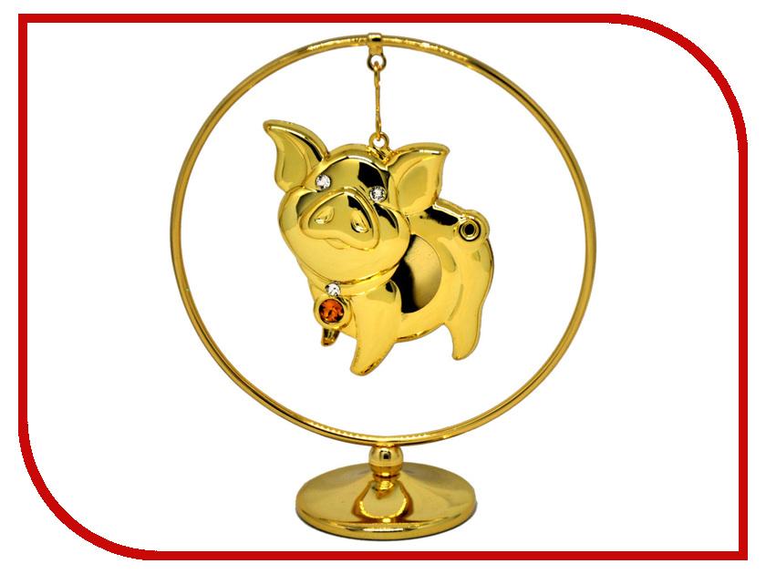 Новогодний сувенир Фигурка Crystocraft Свинья в кольце 406-105-GTO