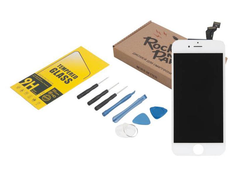 Инструмент для самостоятельного ремонта телефона RocknParts Дисплей iPhone 6 White +защитное стекло+набор инструментов+пошаговая инструкция 650644