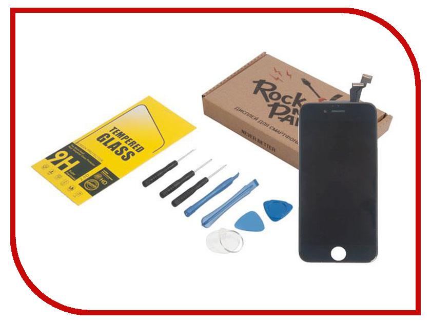 Комплект для самостоятельного ремонта телефона RocknParts Дисплей для iPhone 6 Black +защитное стекло+набор инструментов+пошаговая инструкция 646342 белый сенсорный экран стеклом дисплей для замены планшета ipad мини инструментов