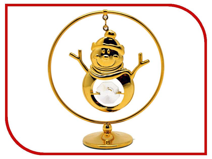 Новогодний сувенир Фигурка Crystocraft Снеговик в кольце 300-105-GCL